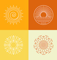 Outline sun icons and logo design elements vector image