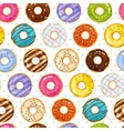 Powdered donut dessert background Donuts and vector image