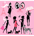 Set of black silhouettes of fashionable girls vector image