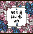 spring sale offer with tulips in a collage style vector image