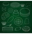 Sweet desserts outline icons on blackboard eps10 vector image