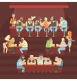 Dark Bar With Criminal Looking Bikers And Sailor vector image