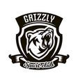 monochrome logo emblem growling bear vector image