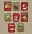 bakery shop price cards retro design set vector image