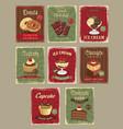 bakery shop price cards retro design set vector image