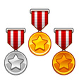 Military medals with stars vector image