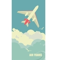 The plane flies against the sky vector image