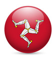 Round glossy icon of isle of man vector image