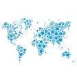 World map mosaic of blue dots vector image