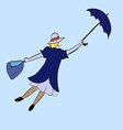 girl floats under the moon with an umbrella in his vector image