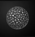 global connections metallic sphere on dark vector image