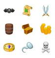 pirate adventure icons set cartoon style vector image