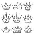 sketch crown doodle set hand draw vector image