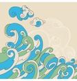 Retro sea waves background vector image