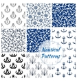 Nautical seamless pattern of navy anchor helm vector image