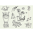 Collection of Cartoon Doodle Monsters 5 vector image vector image