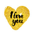 i love you gold card vector image