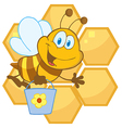 Cartoon bee hive vector image vector image