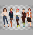 cartoon teenage girls in everyday dress vector image