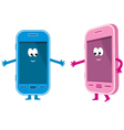 two phones pink and blue vector image vector image