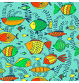 pattern with doodle fishes vector image