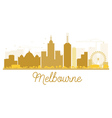 Melbourne City skyline golden silhouette vector image
