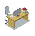 classroom desk with textbook isometric icon vector image