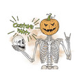 human skeleton with halloween pumpkin head vector image
