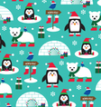 penguins and igloos vector image