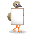 An ostrich holding an empty board vector image vector image