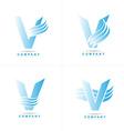Blue letter V logo corporate set vector image