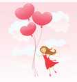 girl with heart balloons vector image vector image