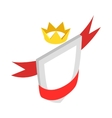 Shield with red ribbon and crown icon vector image