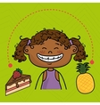 girl fruit cake dessert vector image