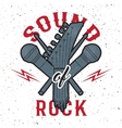 Guitar headmicrophone and drumsticks vector image