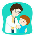 little boy on medical check up with male vector image