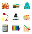 Set of sketch style school icons and vector image