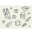 Collection of Cartoon Doodle Monsters 4 vector image vector image