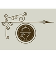 antique street sign of restaurant vector image vector image
