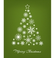 Christmas tree from white snowflakes on green vector image vector image