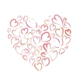 Heart made up of little hand drawn pink hearts vector image