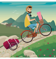 Backpacker in the cycling tour in the mountains vector image