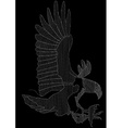 Eagle embroidery in white on a black background vector image