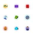 Hostel icons set pop-art style vector image