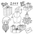 new year collection with santa and snowman vector image