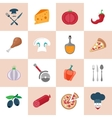 Pizzeria icons set vector image