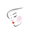 Stylish woman wearing a red lipstick vector image