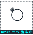 Diamond ring icon flat vector image