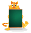 A tiger holding an empty board vector image vector image