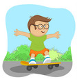 cute little nerd boy on skateboard on road vector image